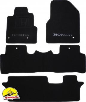 Коврики в салон для Honda Pilot 08- текстильные, черные (Премиум) 1+2+3 ряд