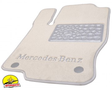 Коврики в салон для Mercedes C-Class W204 '07-14 текстильные, пепельные (Премиум)