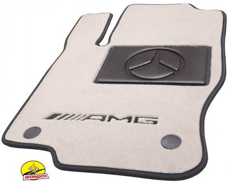 Коврики в салон для Mercedes C-class W205 '14-, текстильные, пепельные (Премиум)