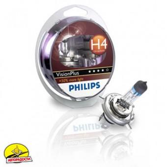 Автомобильная лампочка Philips VisionPlus H4 12V 60/55W (комплект: 2шт.)