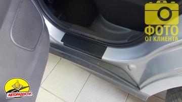 Накладки на пороги карбон для Mitsubishi ASX '10- (Premium+k)