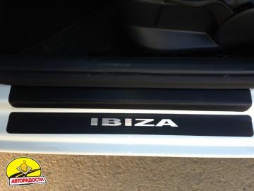 Накладки на пороги карбон для Seat Ibiza '08- хэтчбек 5 дв. (Premium+k)