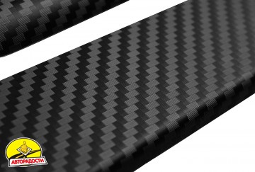 Накладки на пороги карбон для Subaru Forester '08-12 (Premium+k)