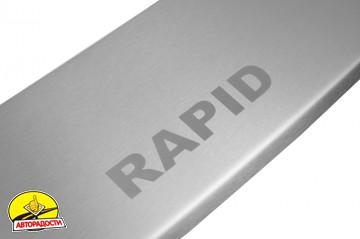 Накладка с загибом на бампер для Skoda Rapid '13- (Premium)
