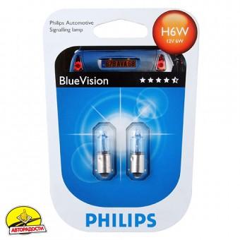 Автомобильная лампочка Philips BlueVision H6W 12V 6W (комплект: 2 шт.)