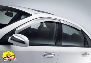 Дефлекторы окон для Chevrolet Lacetti '03-12, седан, хром (Auto Сlover)