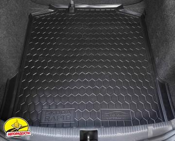 Коврик в багажник для Skoda Rapid '13-, резиновый (AVTO-Gumm)