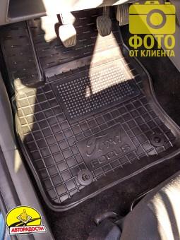 Коврики в салон для Ford Focus II '04-11 резиновые, черные (AVTO-Gumm)