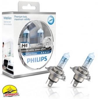 Автомобильная лампочка Philips WhiteVision H4 12V 60/55W (комплект: 2шт.)