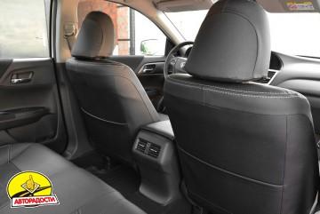 Авточехлы Leather Style для Honda Accord '13-17 серая строчка (MW Brothers)