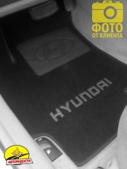 Коврики в салон для Hyundai Accent '06-10 текстильные, черные (Люкс)